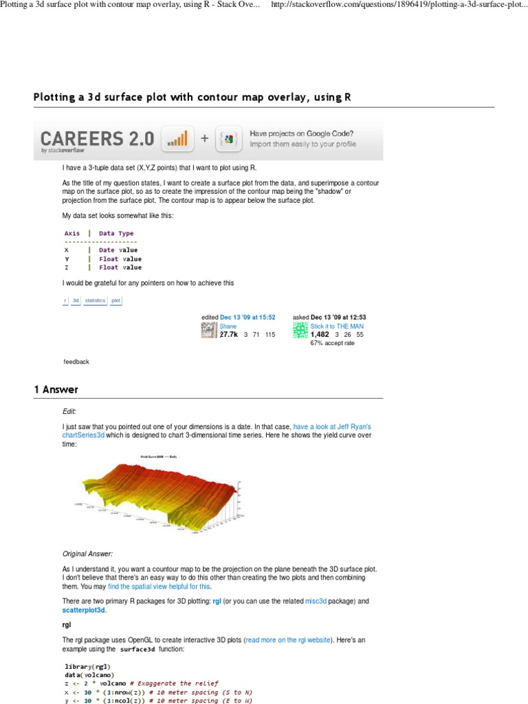 Plotting a 3d Surface Plot With Contour Map Overlay, Using R - Stack