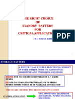 THE RIGHT CHOICE OF STANDBY BATTERY FOR CRITICAL APPLICATIONS