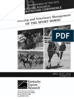 The Management of Tying-Up in Sport Horses