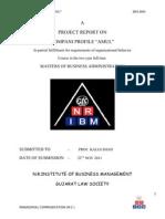 "PROJECT REPORT ON COMPANI PROFILE ""AMUL"""