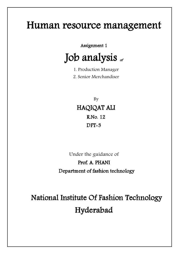 Job Analysis Of Production Manager And Merchandiser  Human