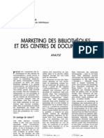 Marketing des bibliothèques et des centres de documentations