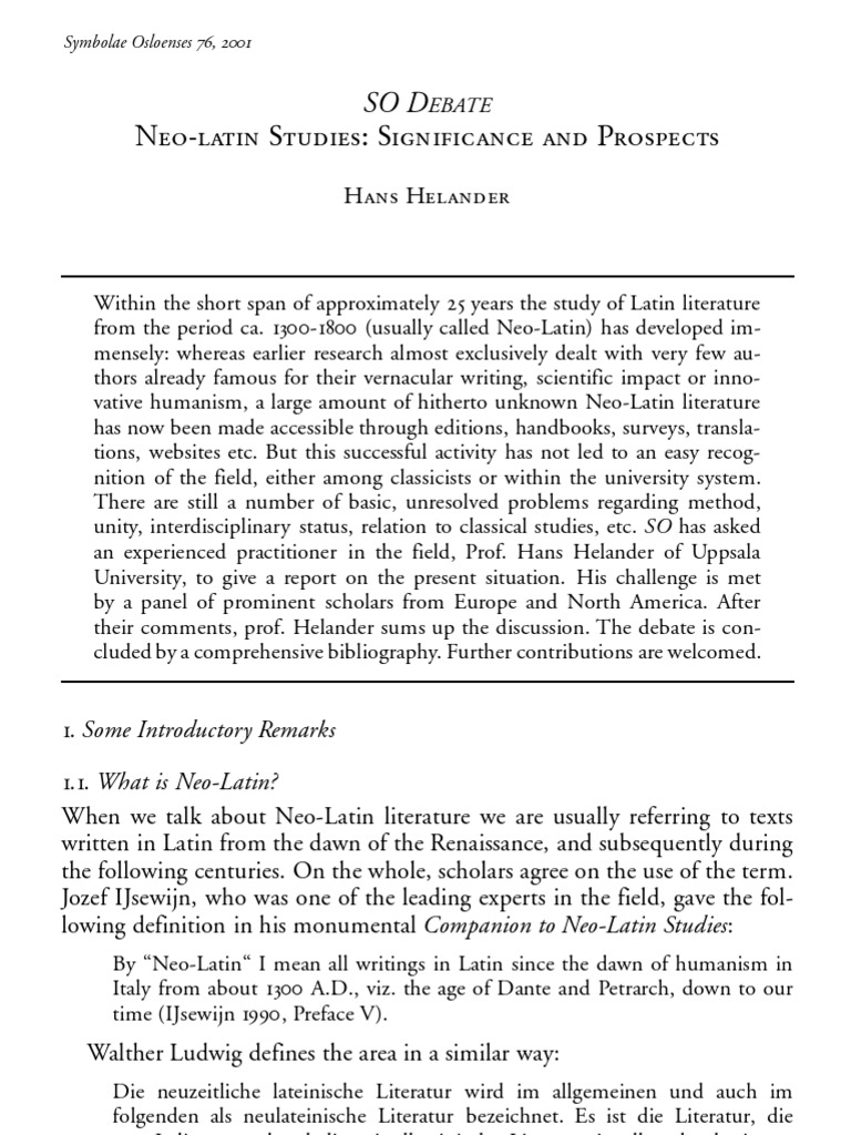 Hans Helander - Neo-Latin Studies, Significance and Prospects (2001 ...