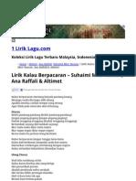 Lirik Kalau Berpacaran - Suhaimi Mior Hassan_ Ana Raffali & Altimet _ 1 Lirik Lagu.com
