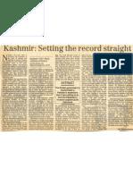 Kashmir - Setting the Record Straight