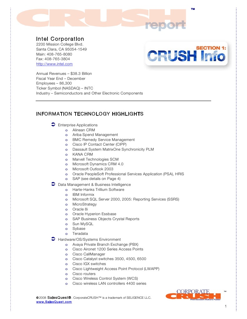 Intel corporation crush report intel contacts intel computer intel corporation crush report intel contacts intel computer data storage biocorpaavc Gallery