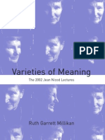 Ruth Garrett Millikan Varieties of Meaning the 2002 Jean Nicod Lectures 2004