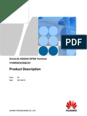 EchoLife HG8245 GPON Terminal Product Description-(V100R003C00&