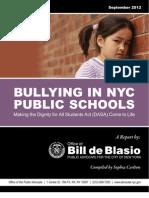 DeBlasio Bullying Report