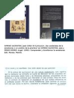 GIMENO SACRISTAN, JOSÉ Comprender y Transformar CAP. 6 EL CURRICULUM