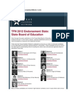 TFN Announces SBOE Election Endorsements