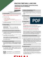 Pakistan Exams Cie Igcse Gce Timetable Jun 2009