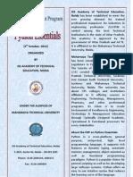 26 Sept 2012 Faculty Development Program on Python Essentails & Handling