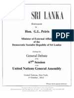 Address to the General Debate of the 67th Session of the United Nations General Assembly Prof. G. L. Peiris Minister of External Affairs, Democratic Socialist Republic of Sri Lanka