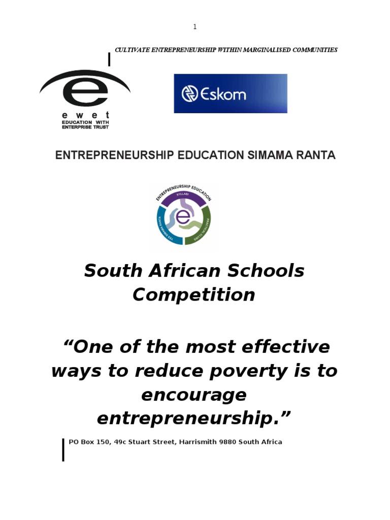 Eskom Entrepreneurship Education Simama Ranta