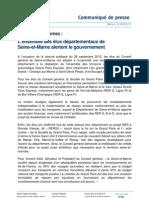 CP - Grand Paris Express - Les élus départementaux alertent le gouvernement