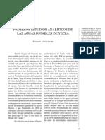 Primeros estudios analíticos de las aguas potables de Yecla.