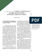 Periodismo y crítica literaria en la obra de Francisco Martínez-Corbalán Pérez.