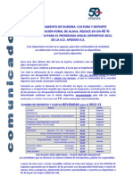 Comunicado Ajuste Cuotas -Temporada 2012-13
