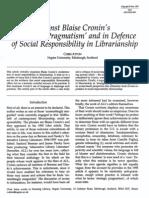 1997 ATTON Against Blaise Cronin's 'Trategyc Pragmatism' LIBRI