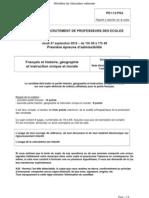 CRPE 2013 - Epreuves de français, histoire et géographie