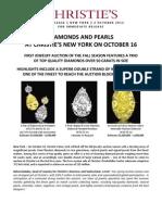 "New York Magnificent Jewels - ""Mega"" Diamonds and Rare Natural Pearls, October 16"