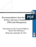 Recommendations from the City of El Paso Advisory Committee on PSB Land Management
