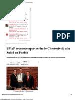 10-09-2012 Sexenio Puebla - BUAP reconoce aportación de Chertorivski a la Salud en Puebla