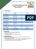 BISAC U19 Girls Footballl Tournament Schedule
