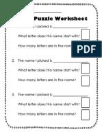 Name Puzzle Worksheet