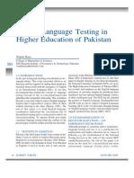 English Language Testing in Pakistan
