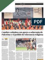 Cumbre culmina con apoyo a soberanía Palestina y el pedido de tolerancia religiosa