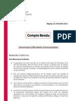 Compte Rendu - Commission Info-Com - 7-10-2011