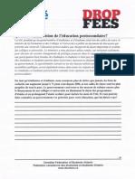 Fédération canadienne des étudiantes et des étudiants-Ontario (FCÉÉ-O) - Quelle est votre vision de l'éducation postsecondaire? - septembre 2012