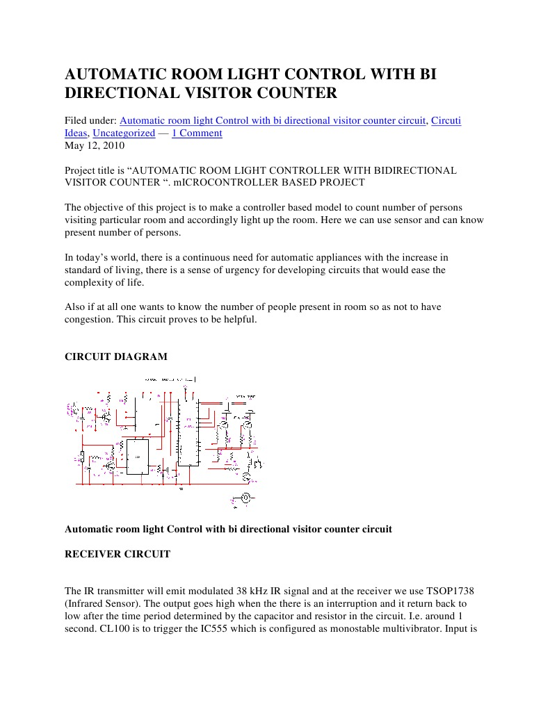 Automatic Room Light Control With Bi Directional Visitor 555 Timer As Monostable Multivibrator Todays Circuits Engineering Electrical Components Electronic Design