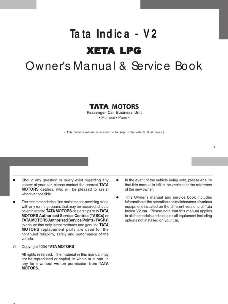 Tata XETA LPG Manual Revision Liquefied Petroleum Gas Door
