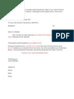 Letter for BESCOM Meter Transfer