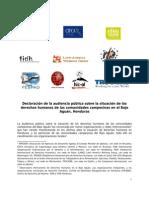 Declaración Audiencia Pública Internacional Bajo Aguán