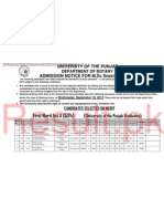 First Merit List of PU MSc Botany 2012 -14