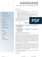 Hannans Quarterly Report 2012   Q3