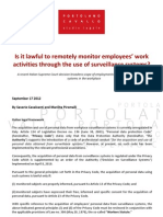 Is it lawful to remotely monitor employees¹ work activities through the use of surveillance systems