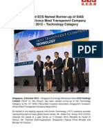 SGX-Listed ECS Named Runner-up of SIAS Investors' Choice Most Transparent Company Award 2012 - Technology Category