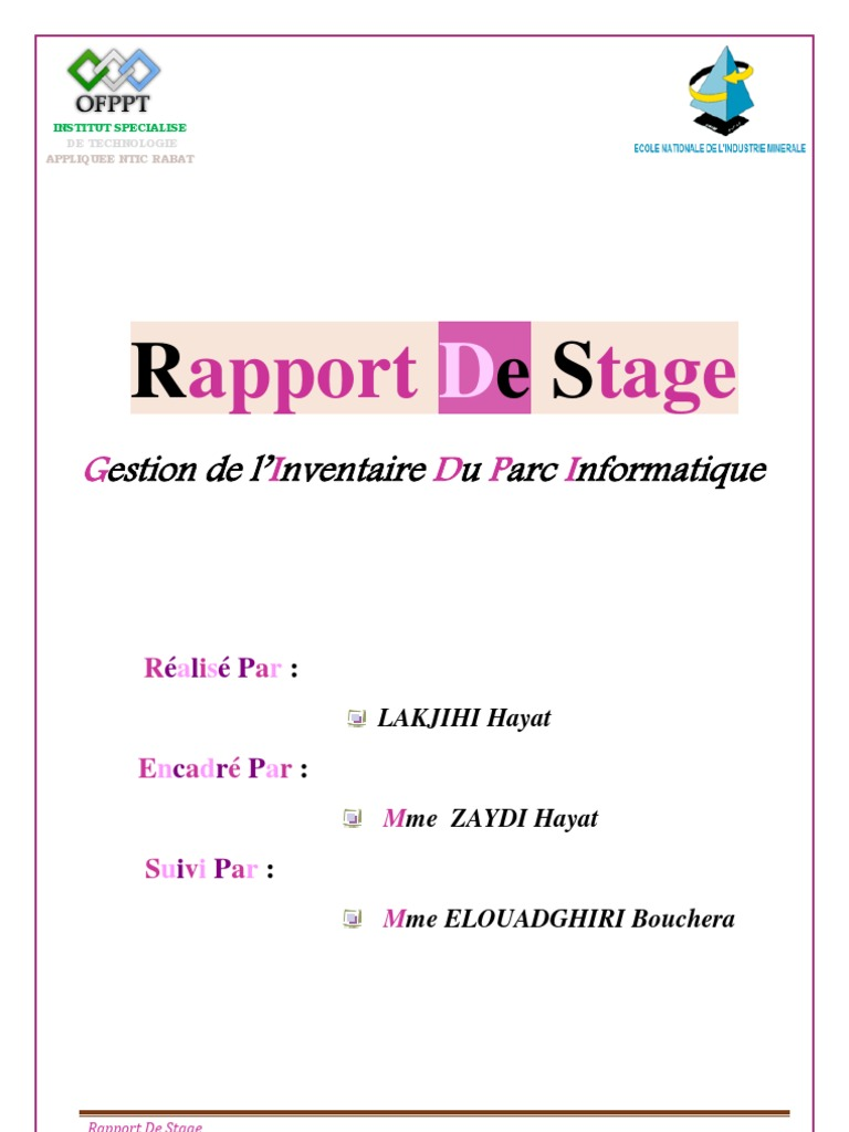 Pdf Page De Garde Rapport De Stage 3eme