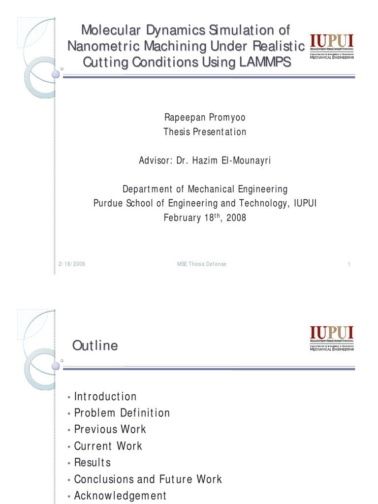 Promyoo Thesis S'08 | Machining | Molecular Dynamics