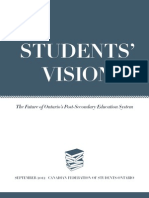 Canadian Federation of Students-Ontario (CFS-O) - Students' Vision - The Future of Ontario's Post-Secondary Education System - September 2012