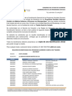 PADRÓN GUERRERO CUMPLE REGIÓN COSTA GRANDE, MUNICIPIO LA UNIÓN DE ISIDORO MONTES DE OCA