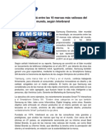 Samsung está entre las 10 marcas más valiosas del mundo según Interbrand