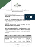 Procedimiento de Lavado de Equipos de Proceso.