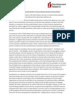 GHD Indicators, Analysis 2009, FinalDraft