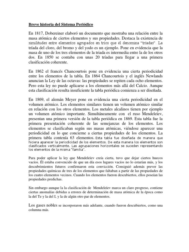 Breve historia de la tabla periodica de los elementos quimicos breve historia del sistema peridico flavorsomefo image collections urtaz Gallery